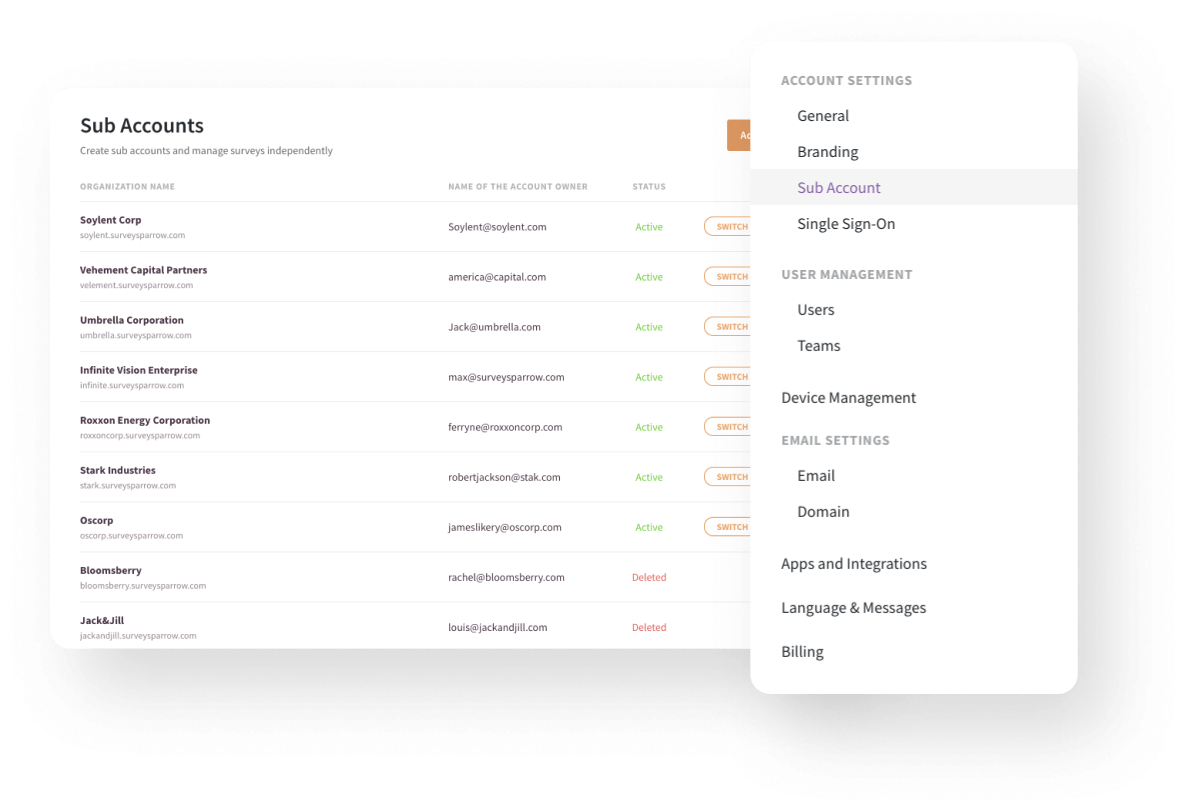 Manage multiple sub-accounts and teams efficiently.