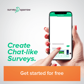 Chat-like surveys banner for Affiliate Program