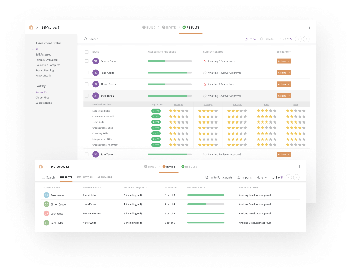 Conduct performance appraisals using custom employee 360 reports with SurveySparrow.