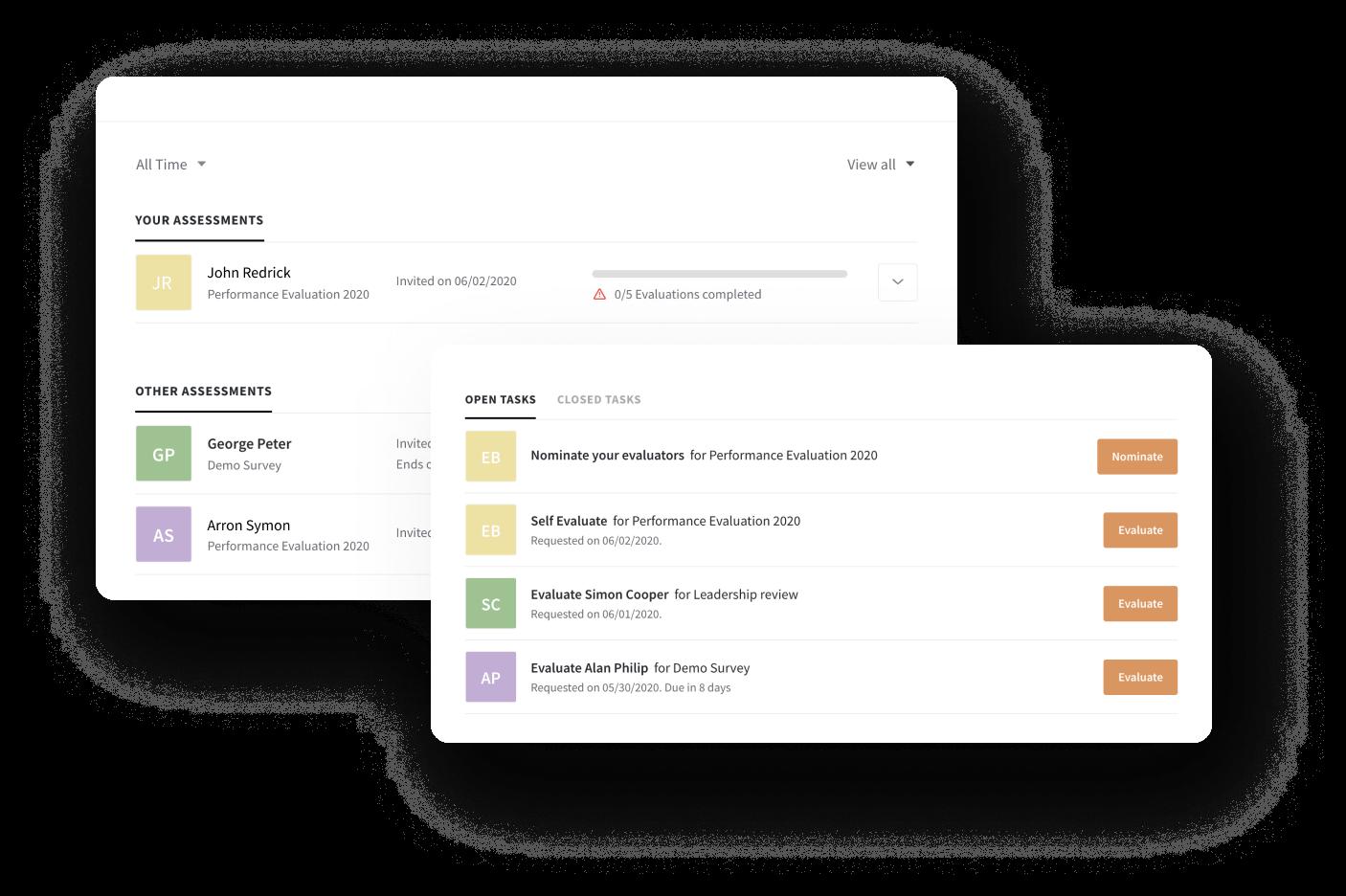 Track assessment in employee portal