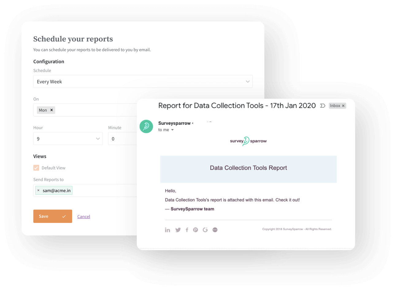 Schedule reports to your inbox at any time.