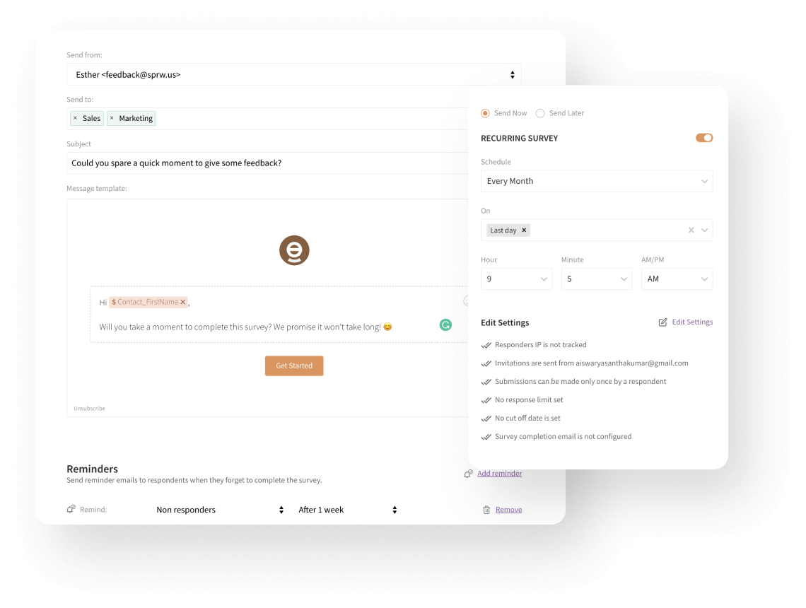 Automate your employee engagement surveys with the recurring feature.