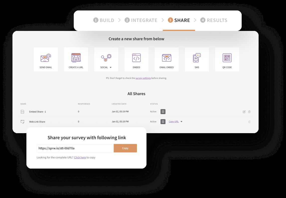 Share surveys via multiple channels using an enterprise survey software.