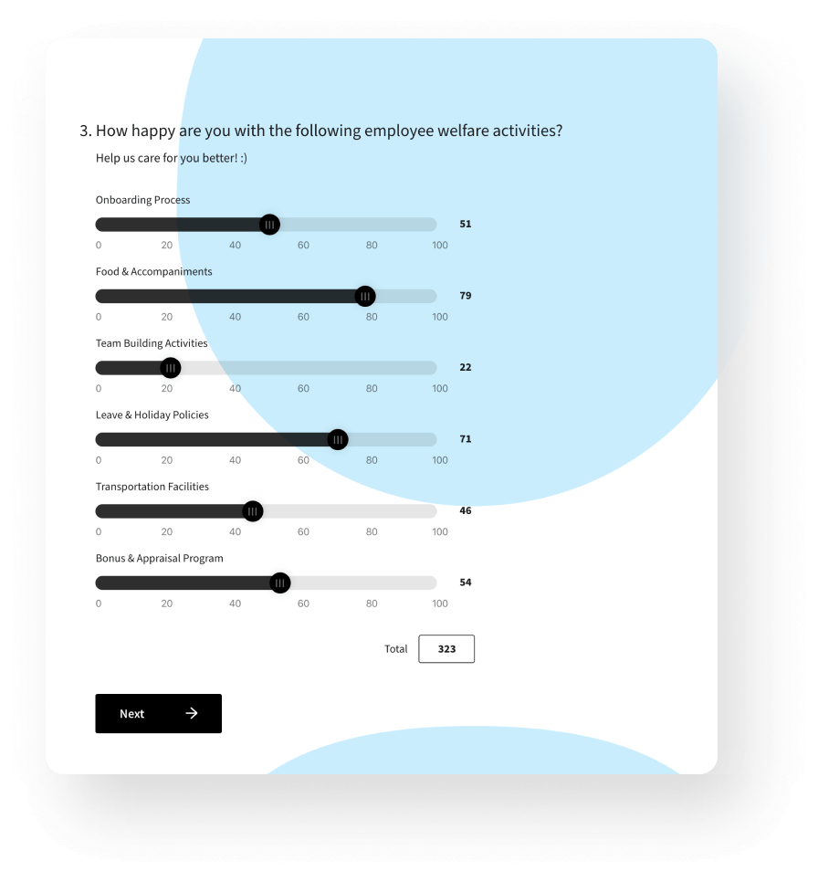 With an enterprise survey software, perform mathematical operations using Expressions and quantify customer preferences using constant sum.