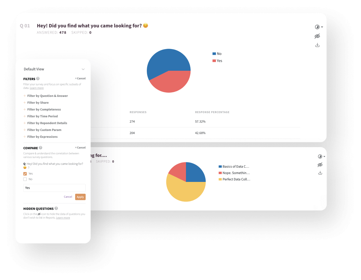 Sort your survey responses using advanced reports filters.