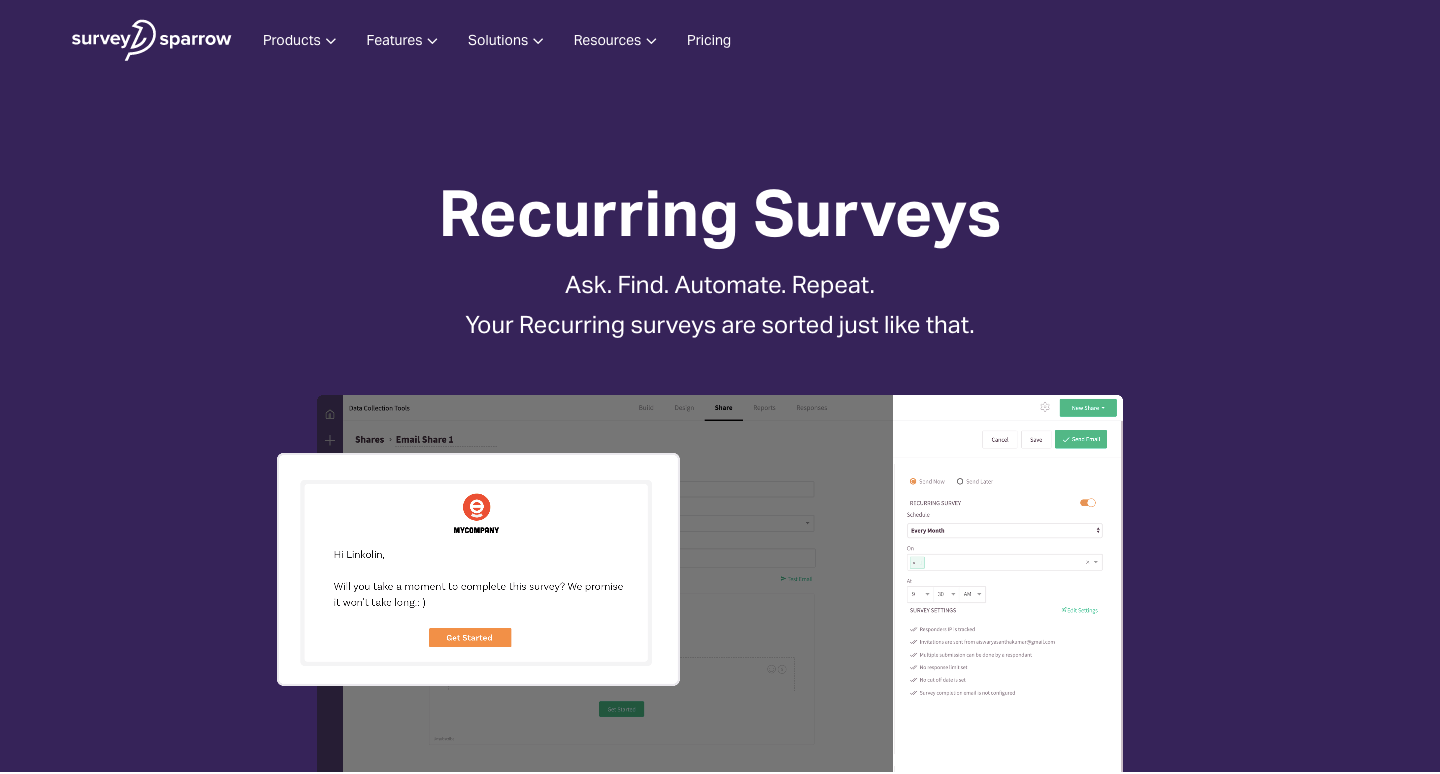Automate surveys with recurring feature.