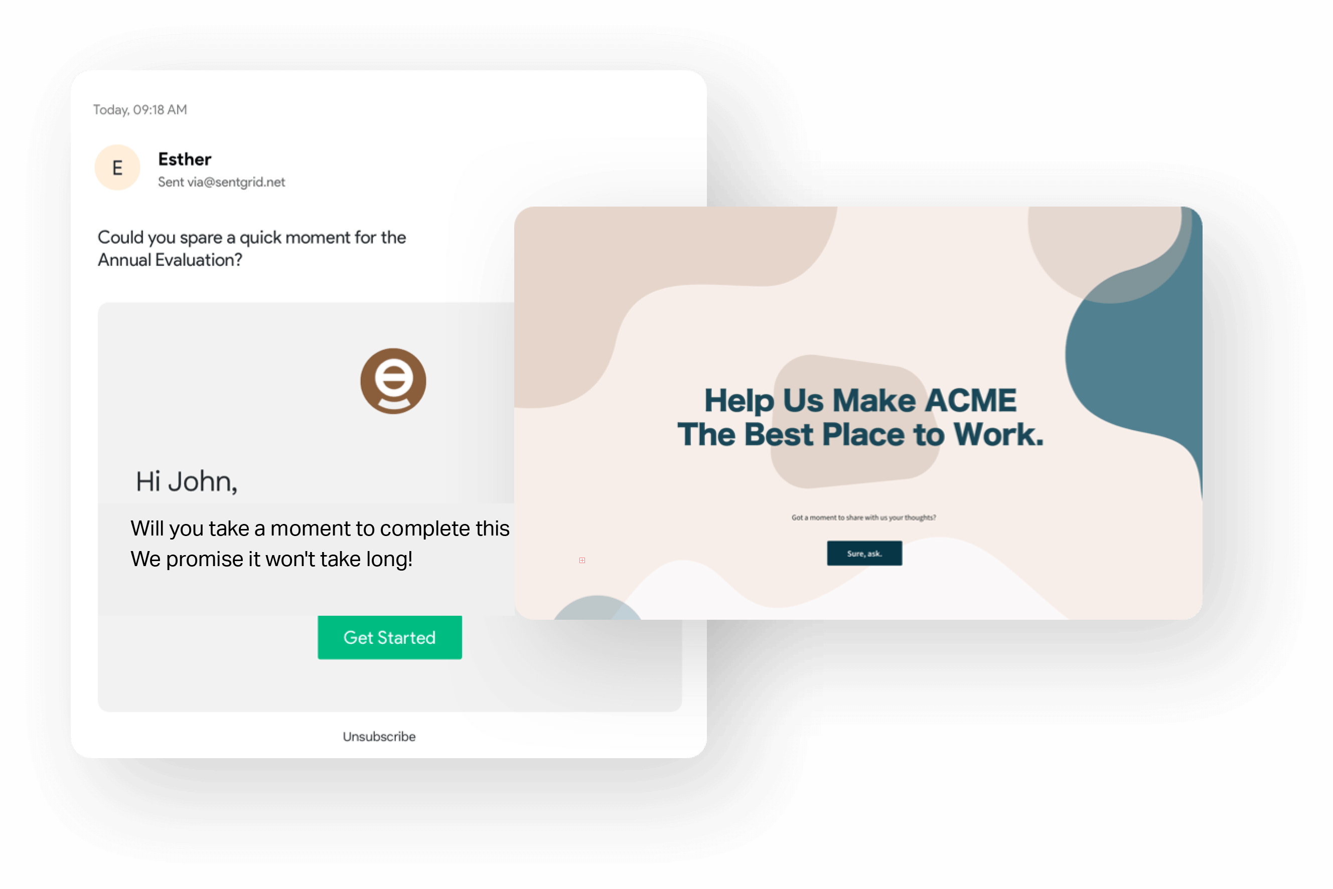 Built-in email share to reach your target audience through email surveys.