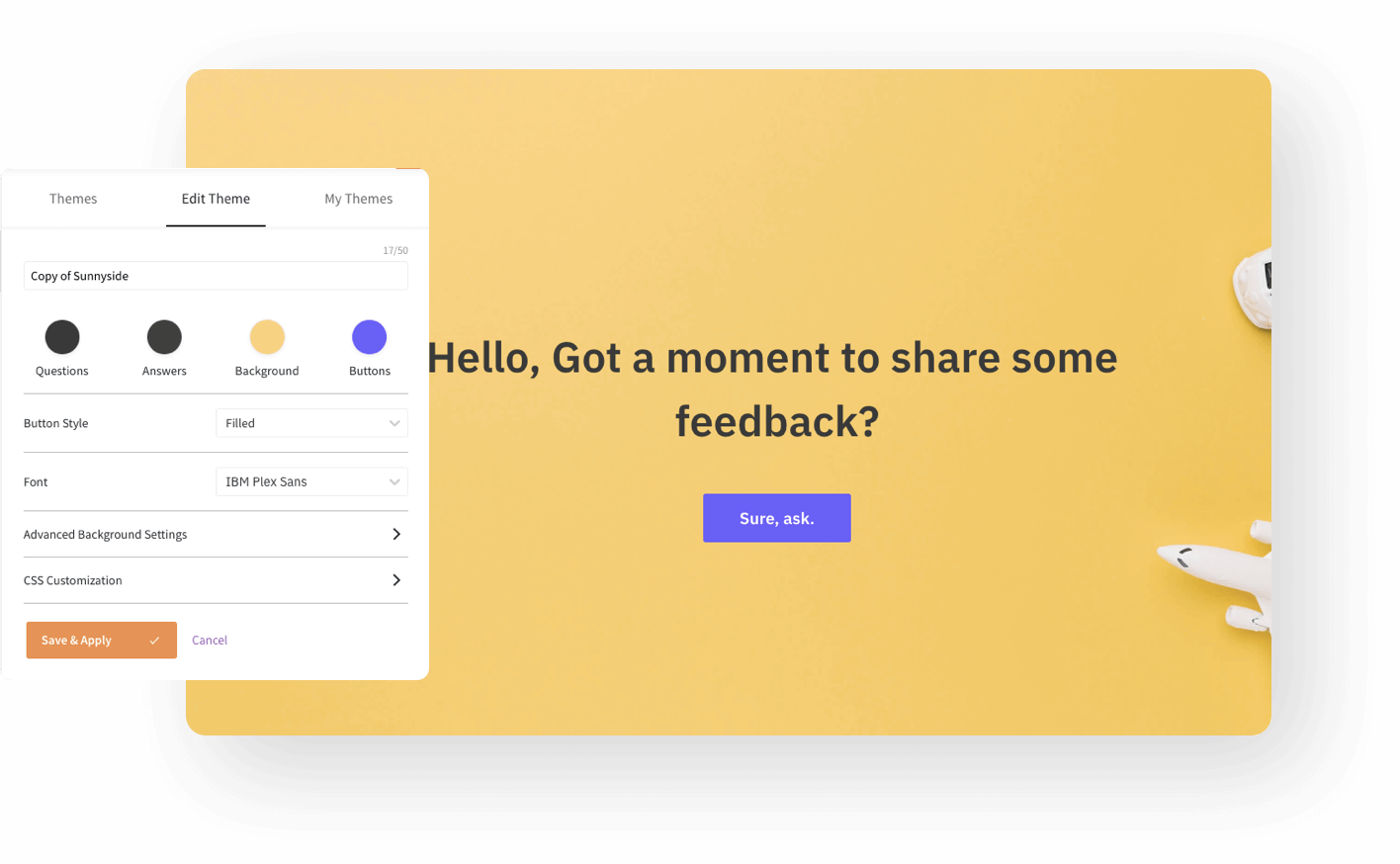 Design beautiful surveys using survey themes and CSS.