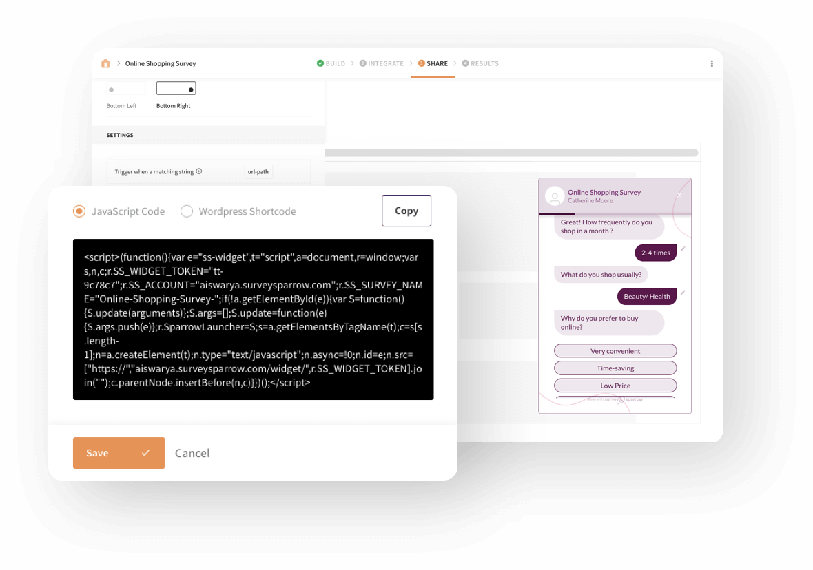 Setting up embedded surveys on your website is as simple as copying the code snippet and pasting it on your website's code.