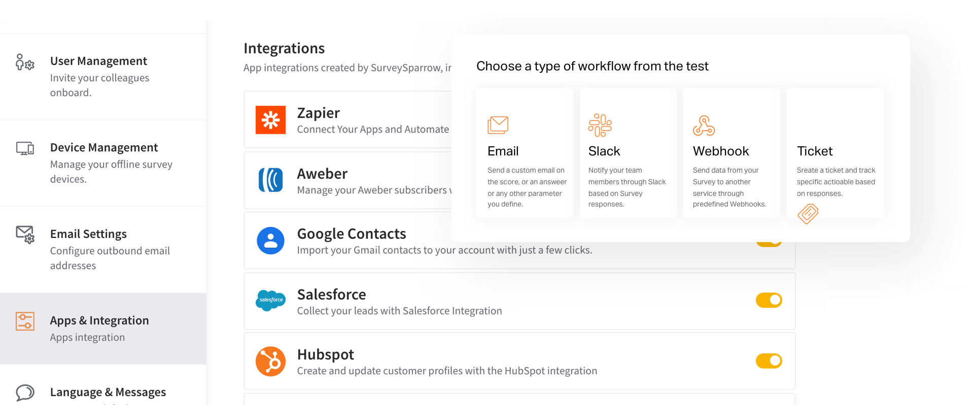 Automate workflows with webhooks, API, and native integrations.