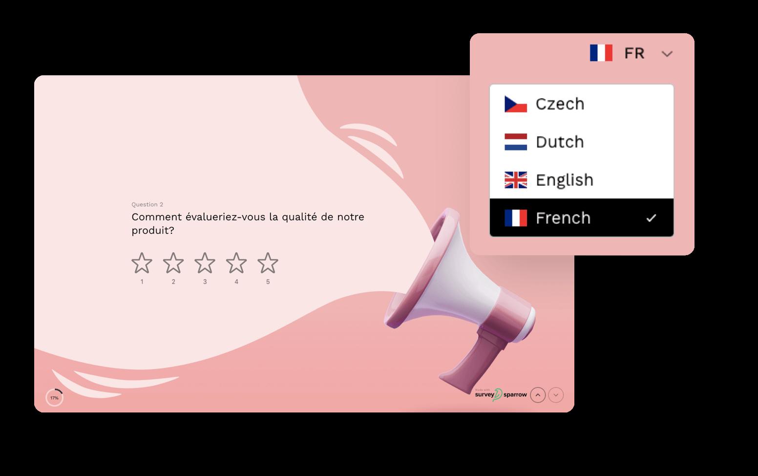 Create a single survey for multiple languages.