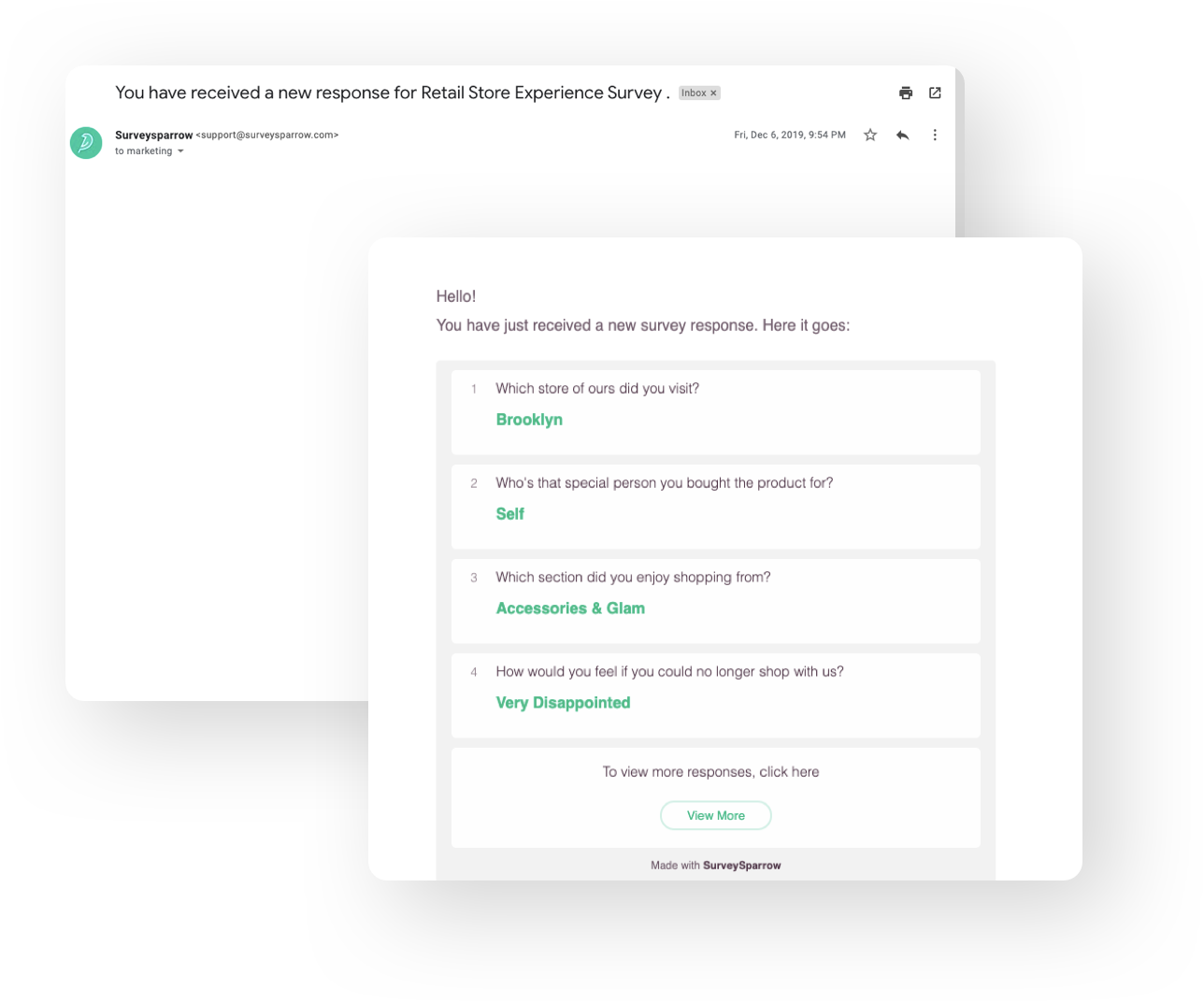Get email notifications when someone completes the survey.