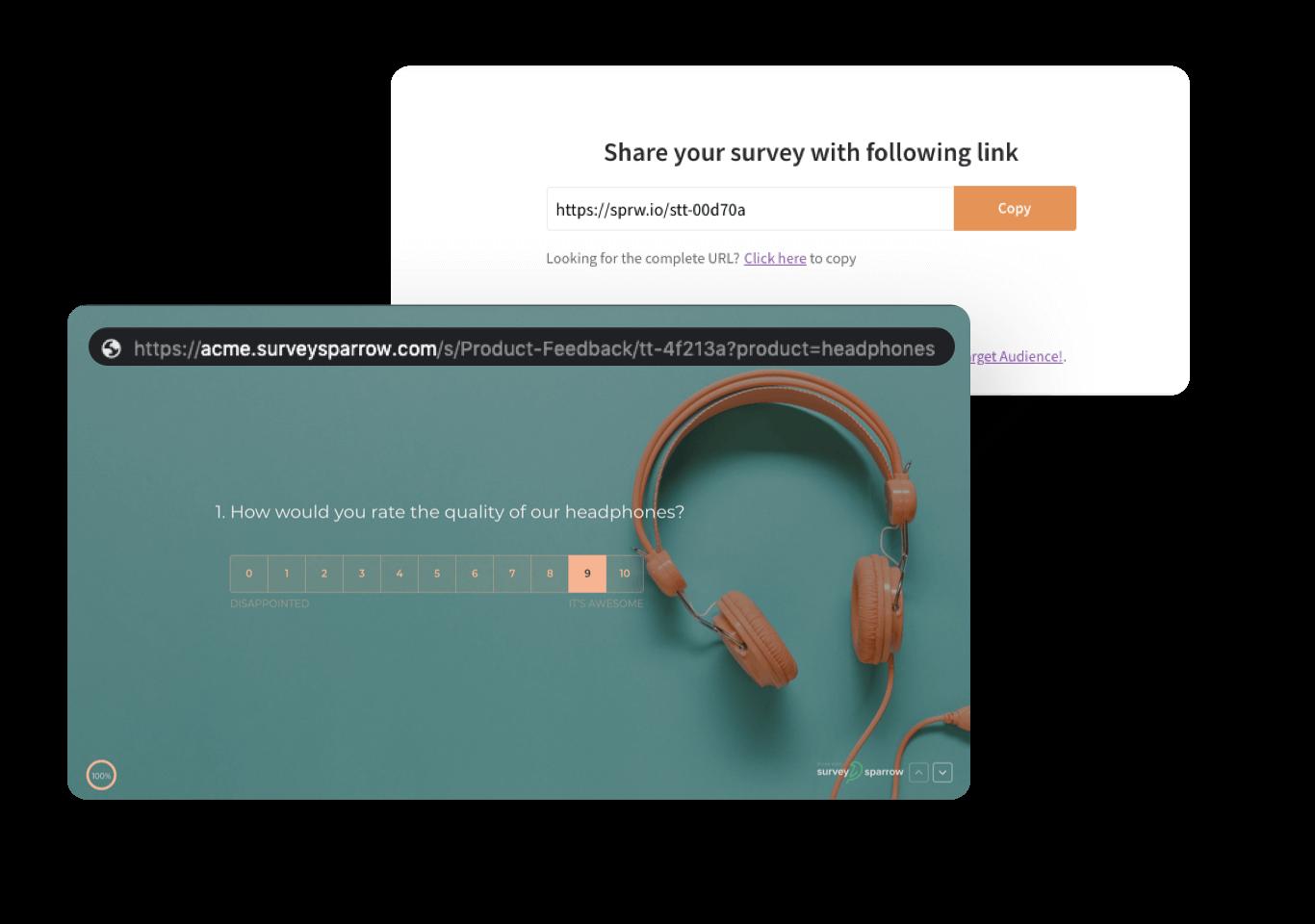 Unique weblinks to share your surveys.