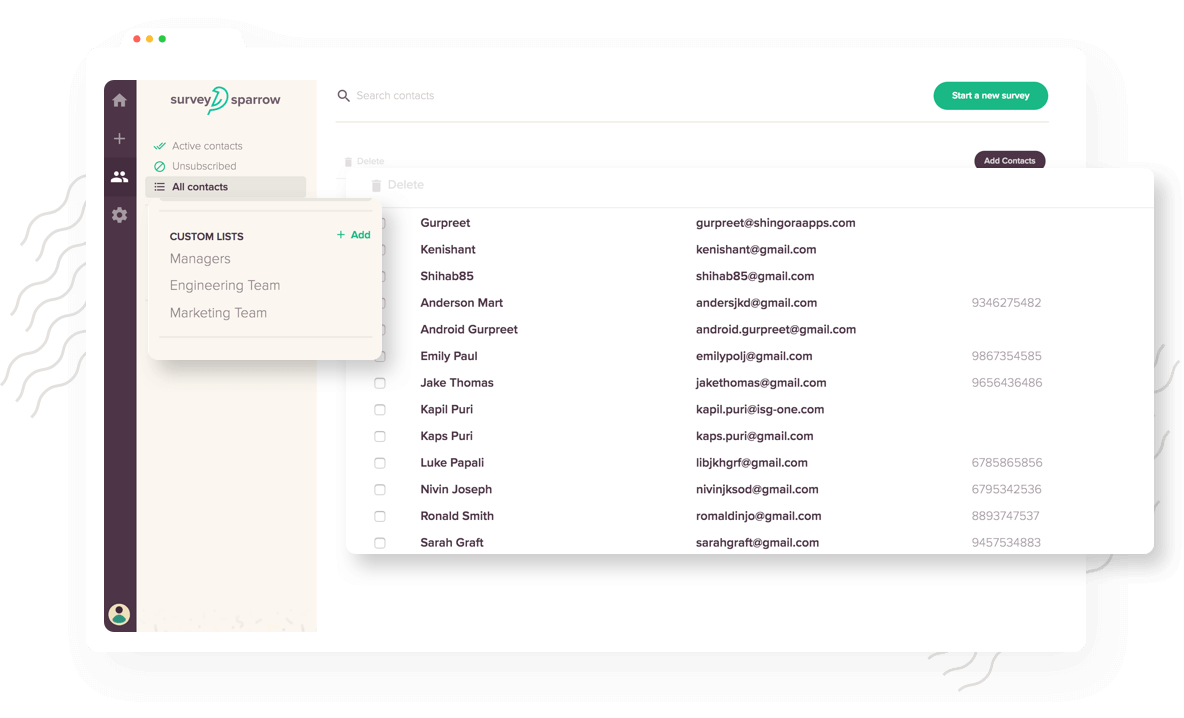 Segment your audience into different Custom Lists