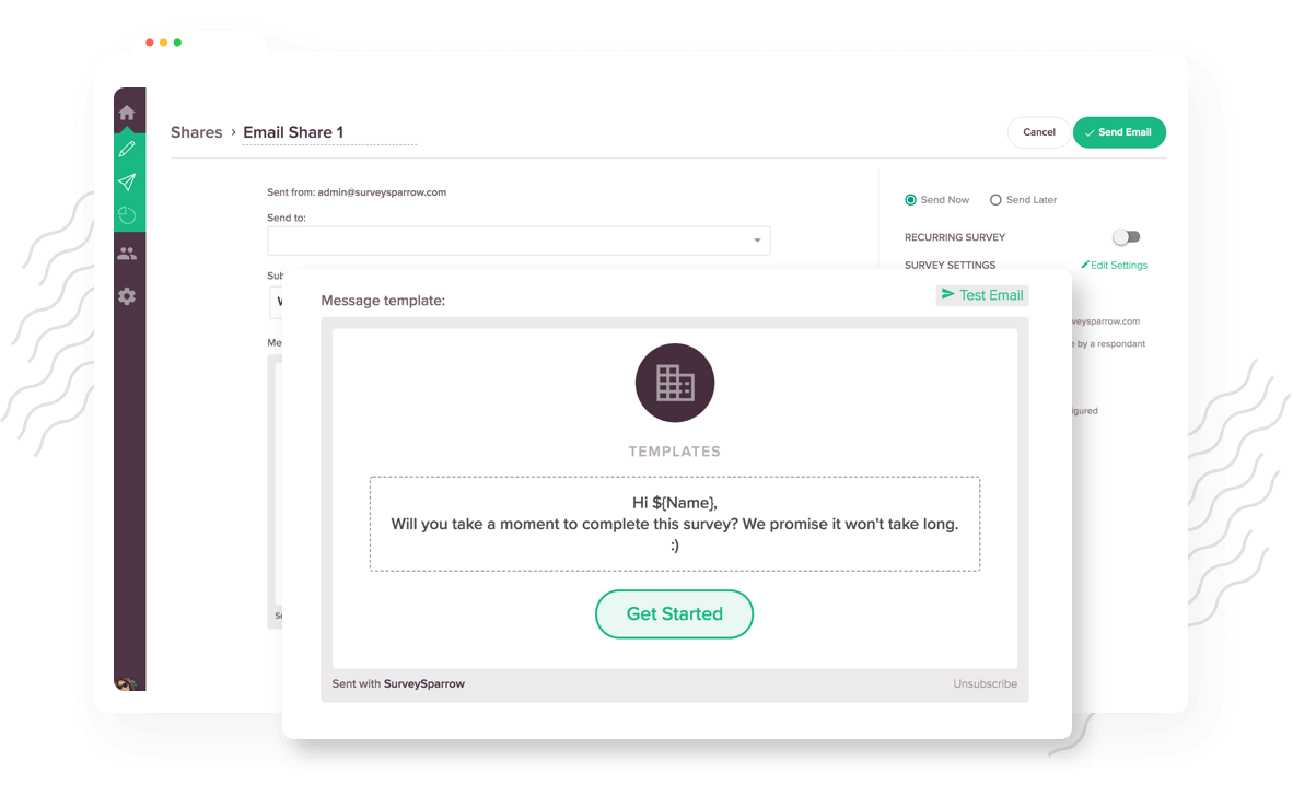 Built-in email share to reach your target audience