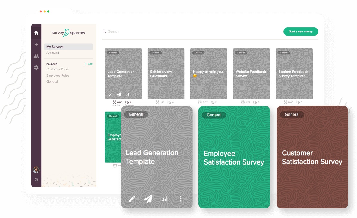 Find survey templates from a wide range by SurveySparrow