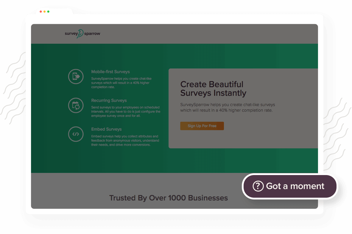 Collect feedback from website visitors with clickable SurveySparrow FeedBot Widget
