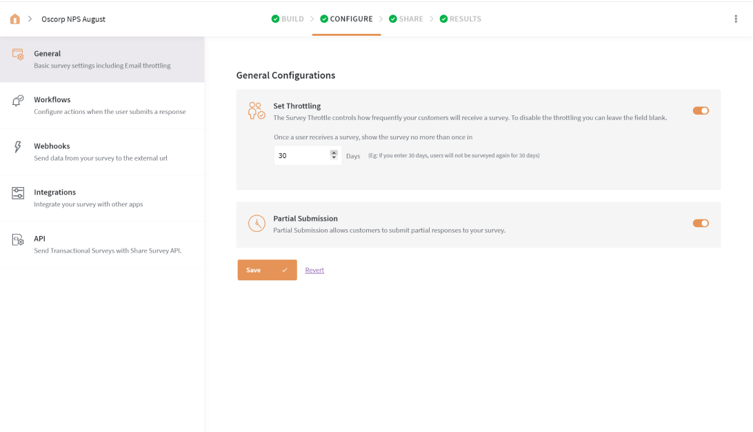 SurveySparrow's NPS survey platform's Throttling feature ensures that no respondent is surveyed until a configured time