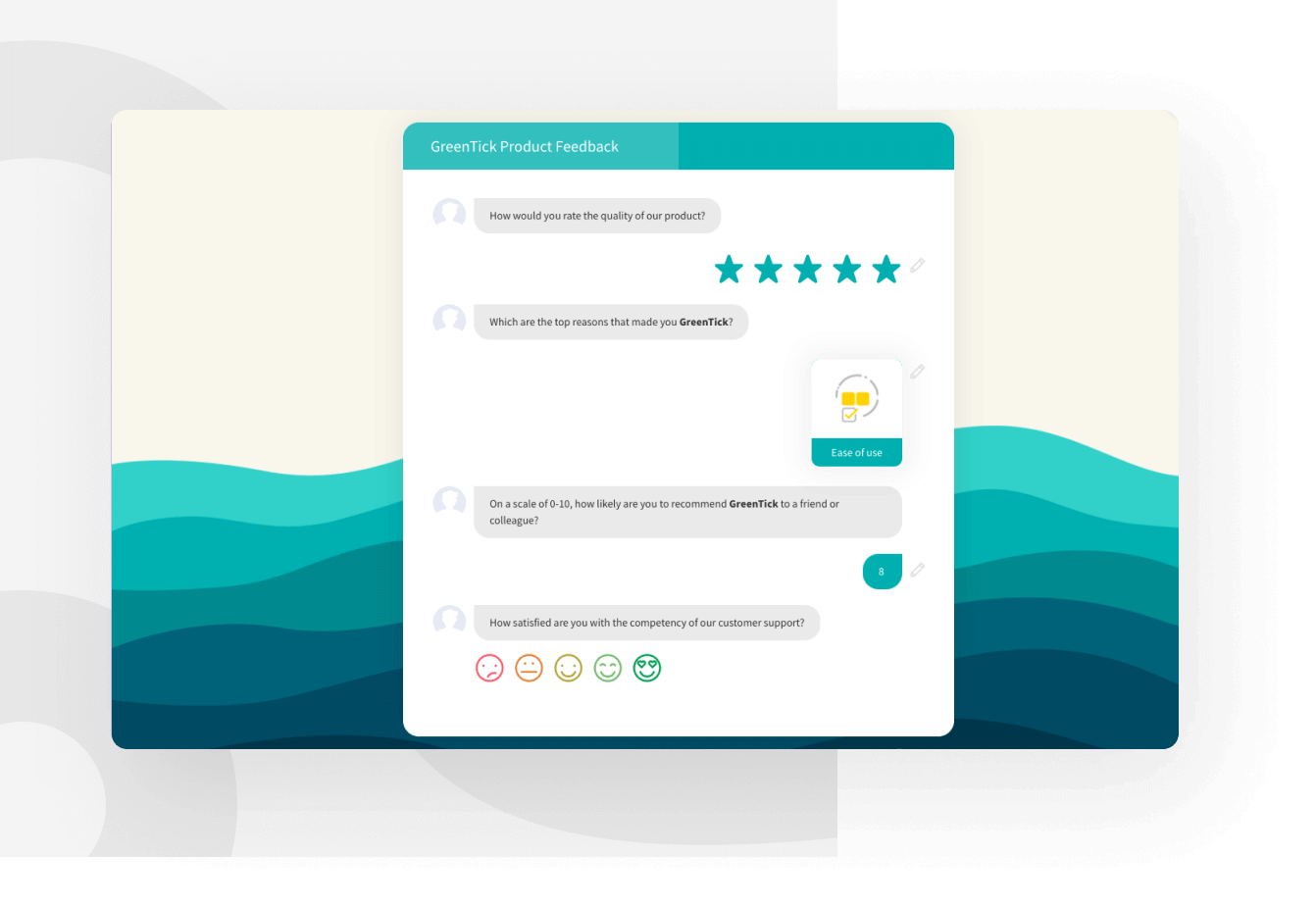 Collect product feedback from your customers and measure satisfaction.