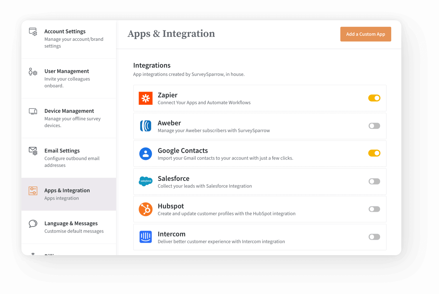 Integrate with any application using API, webhooks, and Zapier.
